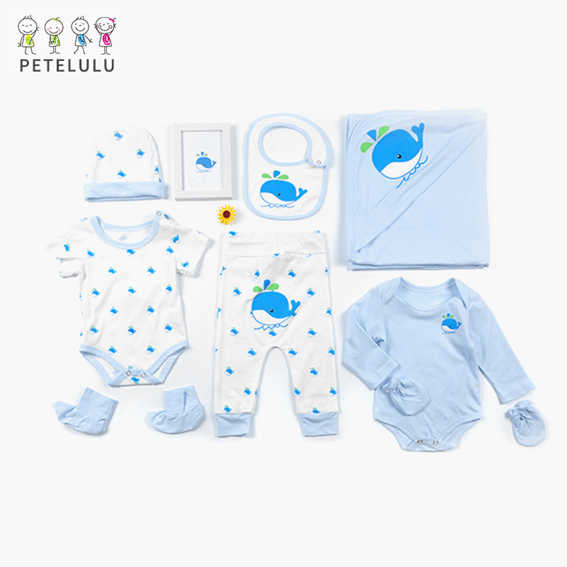 2020 New Style Infant Gift Set Newborns Baby Clothes Organic Colored Cotton Eight Sets