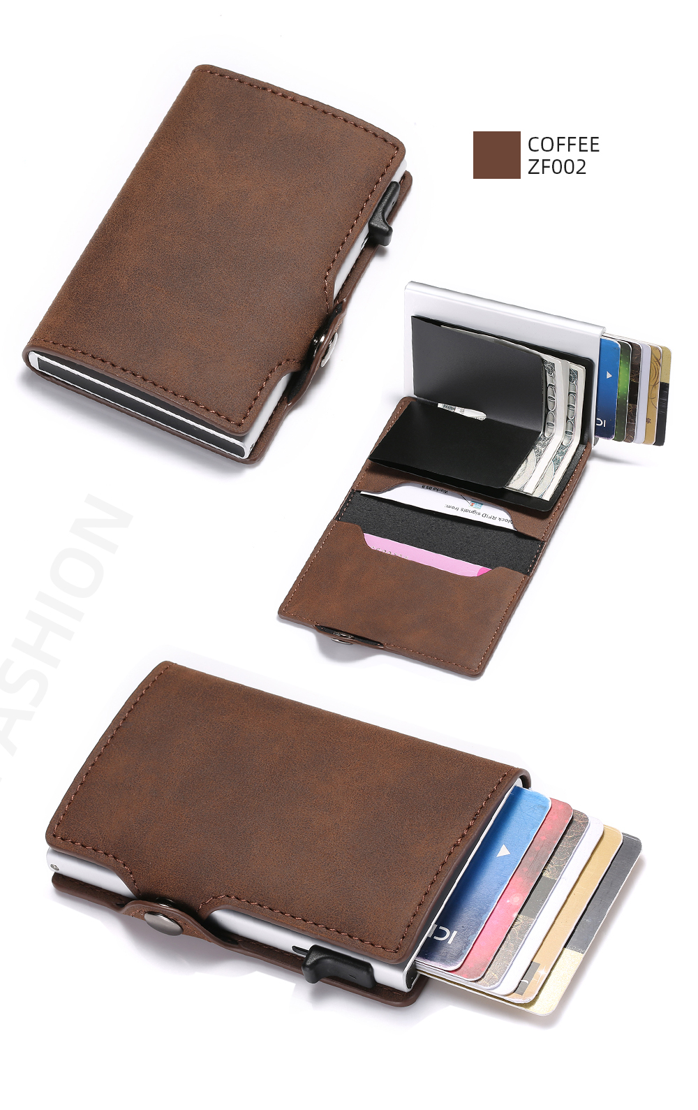 H3c7a4838e22d48a49744b722e405c368j - BISI GORO Single Box Card Holder PU Leather Card Wallet New Men RFID Blocking Aluminum Smart Multifunction Slim Wallet Card Case