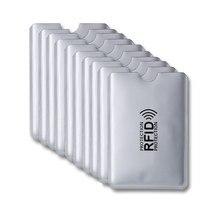10 pçs de alumínio rfid titular do cartão bloqueio banco anti ladrão carteira proteger caso cartões de crédito caso leitor segurança inteligente escudo novo
