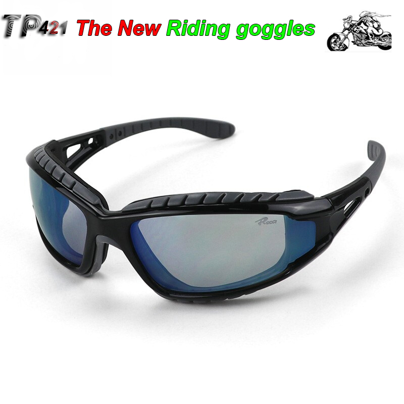 TP421 The New Riding Protective Goggles Blue Anti-fog Scratch Resistant Lens Goggles Sponge Frame Comfortable Safety Glasses