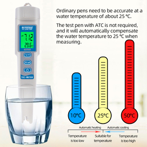 Цифровой измеритель температуры PH EC типа ручки 3 в 1 тестер качества питьевой воды для аквариума, бассейнов измеритель PH Скидка 40%