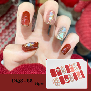 14pcs/sheet Glitter Gradient Color Nail Stickers Nail Wraps Full Cover Nail Polish Sticker DIY Self-Adhesive Nail Art Decoration 17