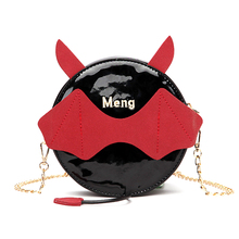 Women Crossbody Little Devil Bat Small Monster Round Messenger Bags Faux Leather Handbag Gothic Chain Shoulder PU Bag Lady