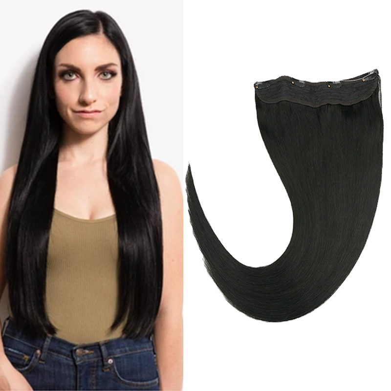 Toysww Invisible Wire Halo Hair Extensions Human Hair Flip In Fish Line With 4 Clips On Machine Remy Hair Solid Color