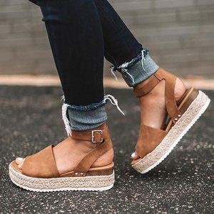 Women's Platform Sandals 2020 Summer Leopard Wedge Ladies Beach Dress Party Sandals Buckle Plus Size High Heel Female Shoes(China)