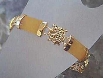 822 jóias amarelo jade 18kgp fortuna fecho pulseira