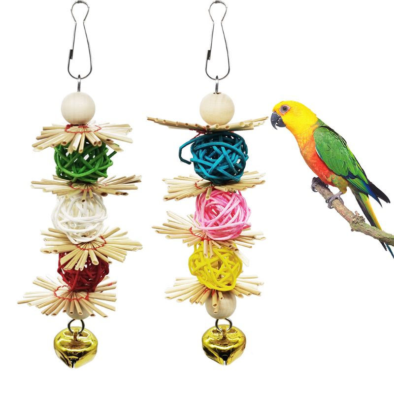 Bird Parrot Toys with Bells Birds Cage Chewing Toy with Colorful Wood Beads Bite Toys for Parrots Macaw African Grey Cockatoo