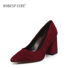 ROBESPIERE New Womens Wedding Pumps Pointed Toe Shallow Mouth Quality Genuine Leather Shoes Thick Heel Party Zapatos Mujer A50