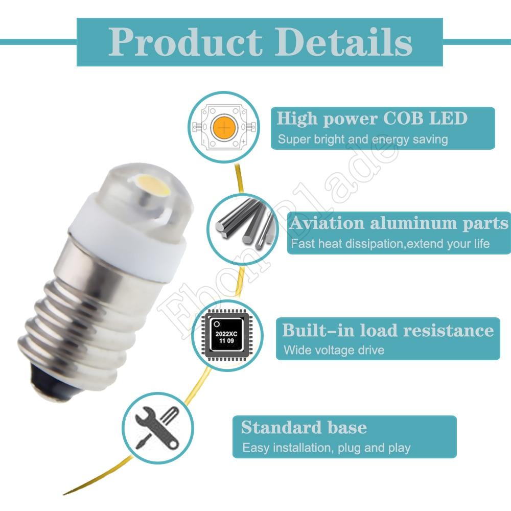 5PCS Schwachstromverbrauch E10 LED Schrauben-Unterseiten-Anzeigelampe DC-Lich LZ