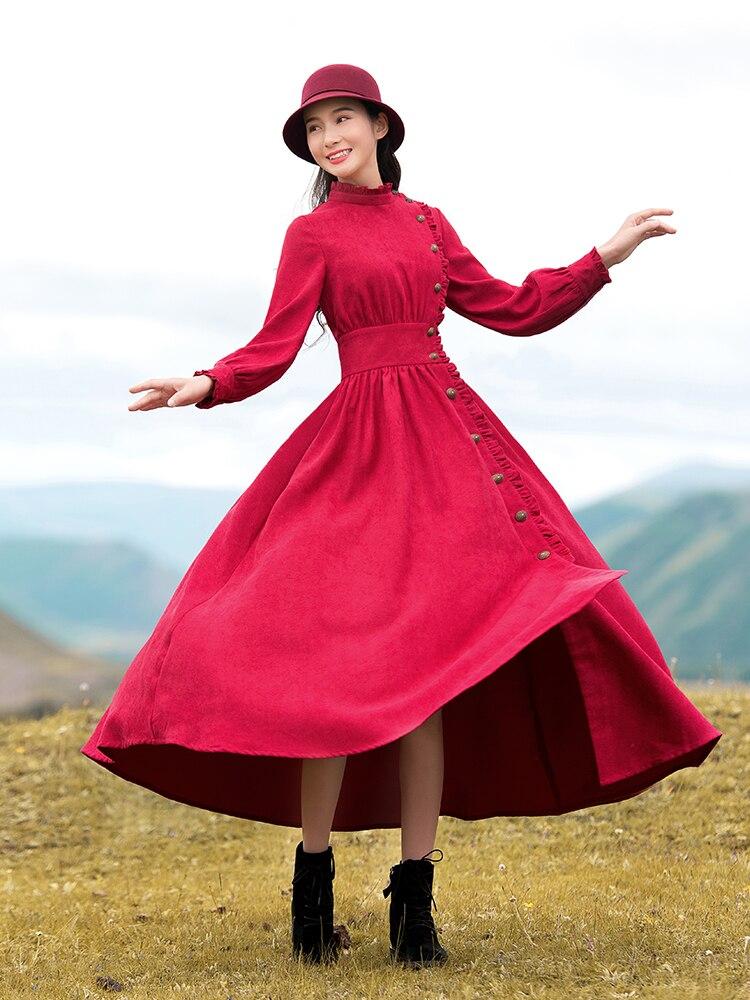 Livraison gratuite Boshow 2019 mode femmes longue Maxi lanterne manches printemps et automne robe S-L côté simple boutonnage rouge grand ourlet