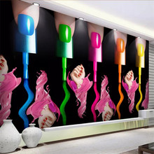 beibehang Custom wallpaper 3d creative beauty salon cosmetics nail art tooling wall nail art makeup nail polish arm 3d wallpaper(China)