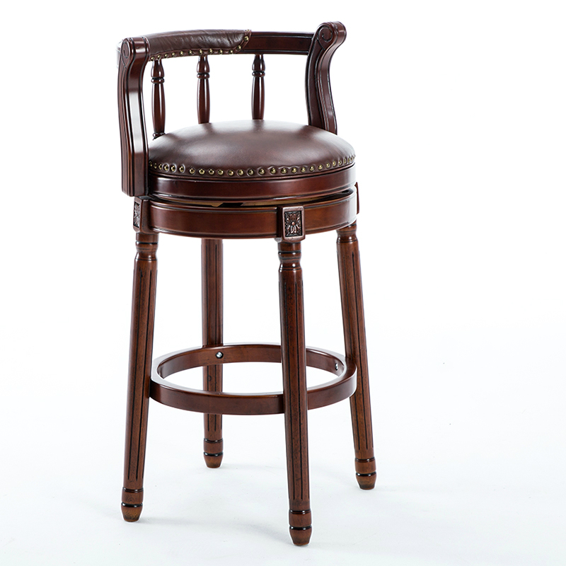 American Solid Wood Bar Chair European Style Backrest High Stool Light Luxury Leather Rotating Retro Bar High Chair