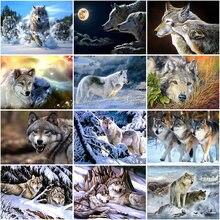 Алмазная 5d картина «сделай сам» вышивка со снегом волком животным