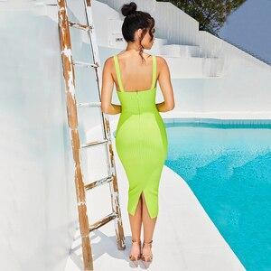 Image 3 - ADYCE 2020 New Summer Spaghetti Strap Bandage Dress Women Sexy Sleeveless Female Midi Bodycon Club Celebrity Evening Party Dress