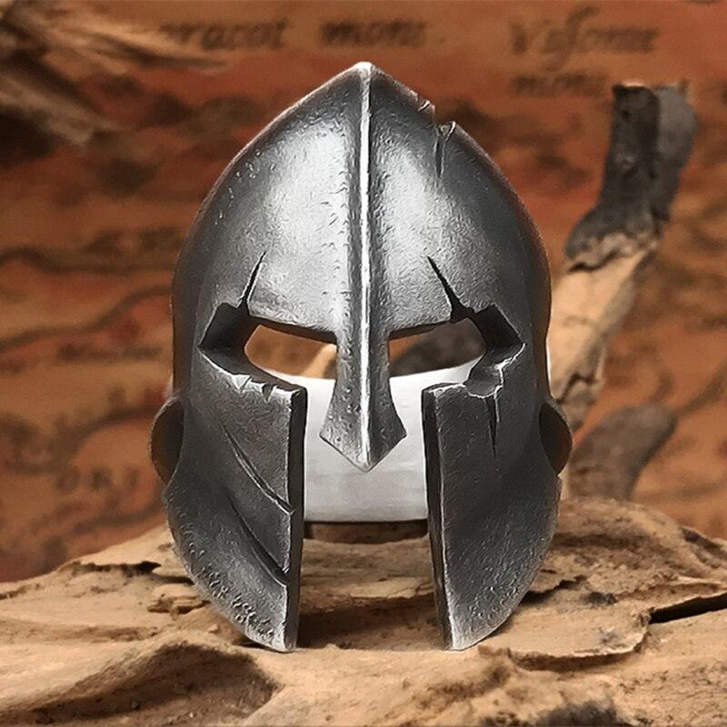 EYHIMD serin klasik Sparta kask yüzük erkekler basit paslanmaz çelik savaşçı yüzükler Biker takı erkekler için hediye