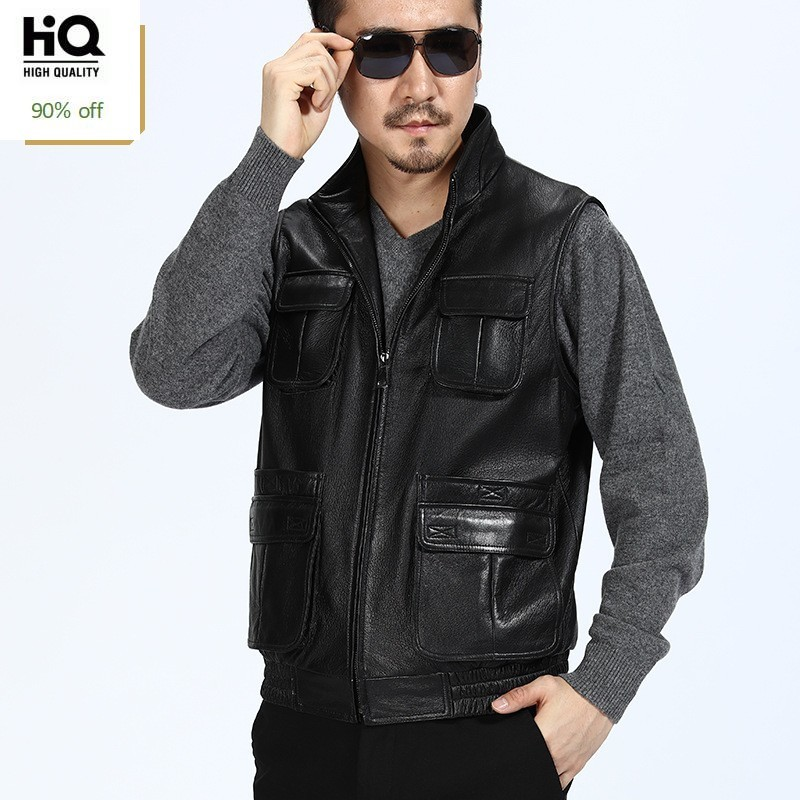 British Men Casual Outside Multi-pockets Fishermen Vest Luxury Motorcycle Nature Leather Jackets Male Loose Windproof Coats 4XL