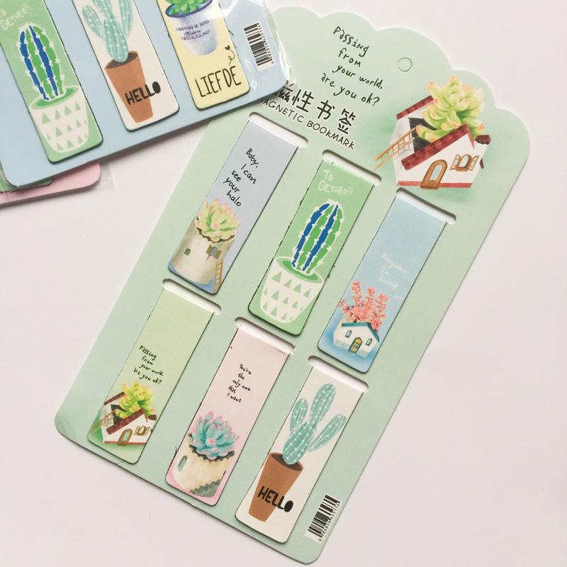 6Pcs/Lot Kawaii Metal Bookmark Cute Cactus Bookmarks Novelty Magnetic BookMarks For Kids Gifts School Office Supplies Stationery