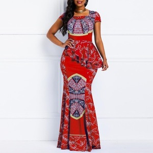 Women African Traditional Clothes Maxi Pleated Wax Mermaid Dresses for Women Bazin Rich Party Evening Africa Print Dress Elegant