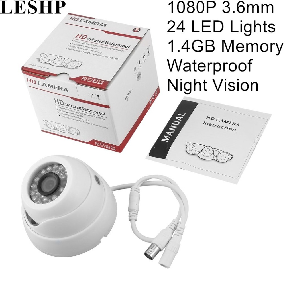 LESHP 3.6mm 1080 HD Security Camera <font><b>24</b></font> LED Lights Night Vision Waterproof Outdoor Security Surveillance 80 degree viewing angle image