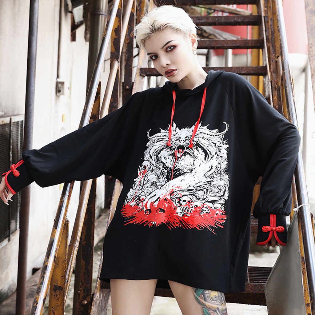 New Harajuku Women Hoodies Sweatshirts Over-Sized Dragon Print Women's sweatershirt Drawstring Hoodies Women bluzy damskie