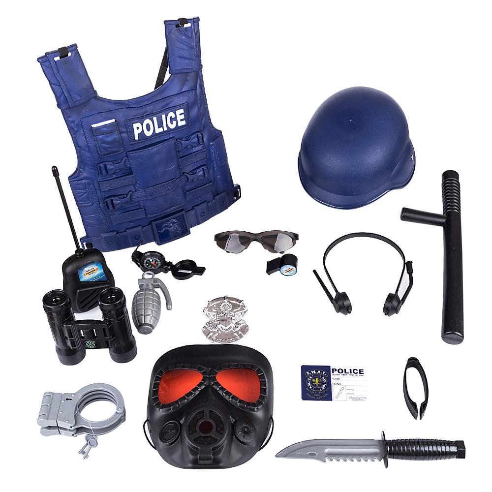 NFSTRIKE 16Pcs Children Pretend Play <font><b>Police</b></font> Officer Props <font><b>Police</b></font> Role Play Kit Cop Toy Set Handcuffs Child <font><b>Police</b></font> Costume Game image
