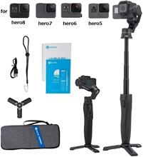 Feiyu GoPro Action Camera Gimbal Stabilizer for Gopro Hero 8/7/6/5,18cm Extendable Pole with Tripod and Carry Bag Vimble 2A