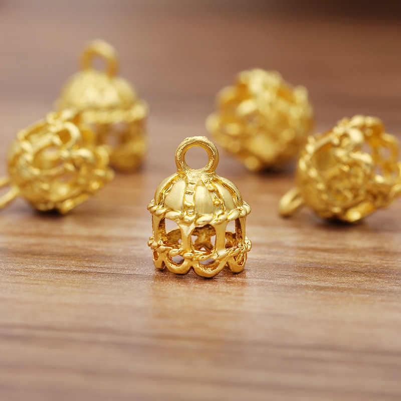 100Pcs Filigree Flowers End Caps Beads Tassels Charms Pendants DIY Findings