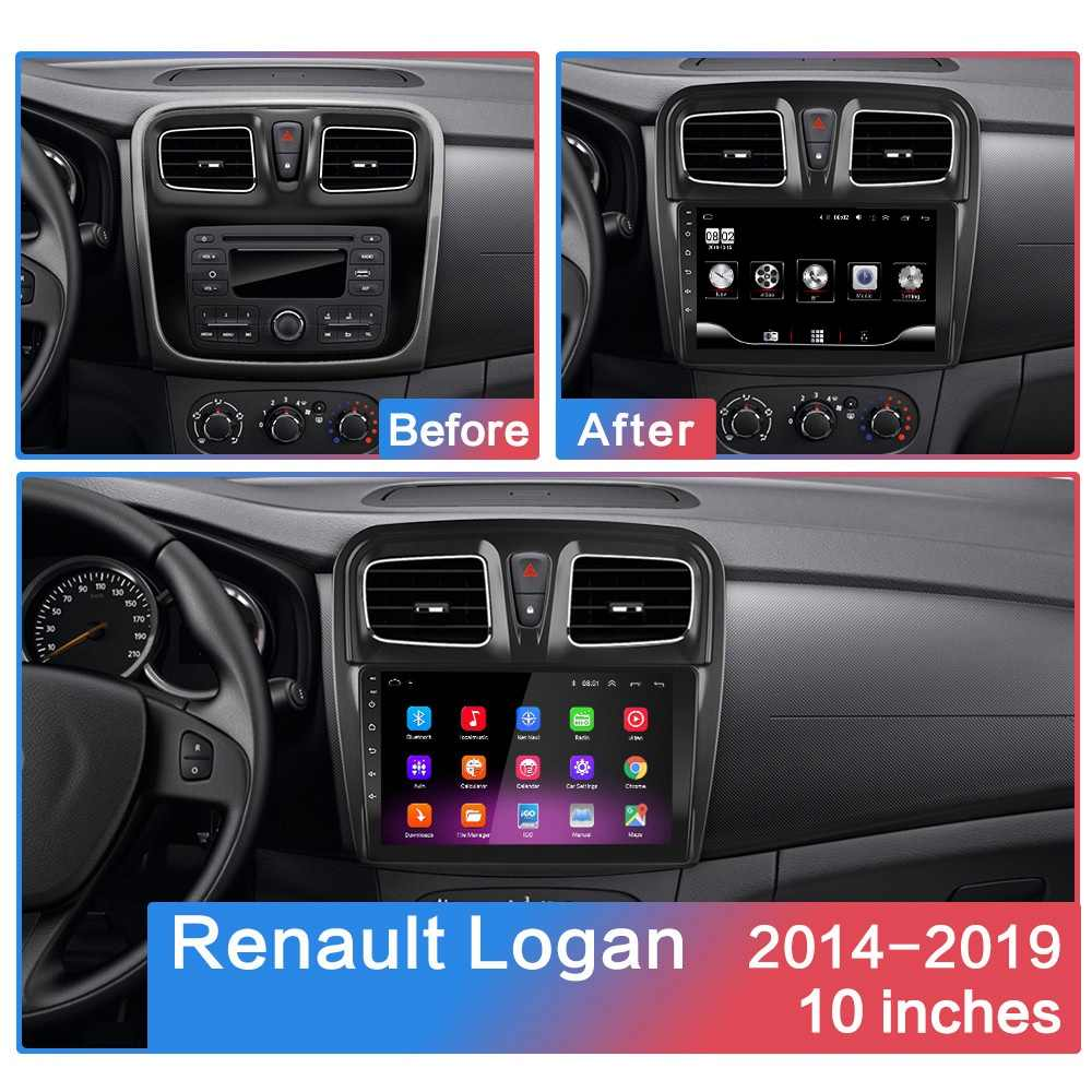 Android 8.1GO 2DIN araba radyo DVD OYNATICI Renault Logan Sandero sembolü 2014 2015 2016 2017-2019 araba radyo GPS WIFI IPS oyuncu