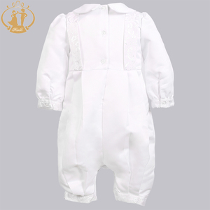 Image 5 - Zwinny Boys Baby chrzciny suknie Satin formalna okazja chłopcy Romper noworodków ubrania Ivory dzieci chrzest sukienki 0 12M
