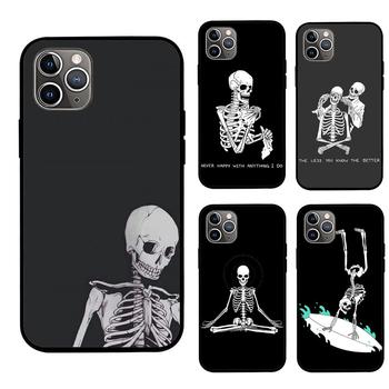 Śliczne szkielet czaszka etui na telefony dla IPhone 6 6s 7 8 moda pokrywa dla IPhone X Case dla IPhone 12 XS miękkie śmieszne etui na telefony czarny tanie i dobre opinie CN (pochodzenie) Pół-owinięte Przypadku black soft tpu Apple iphone ów Iphone 5 Iphone 6 plus IPHONE 6S Iphone 6 s plus