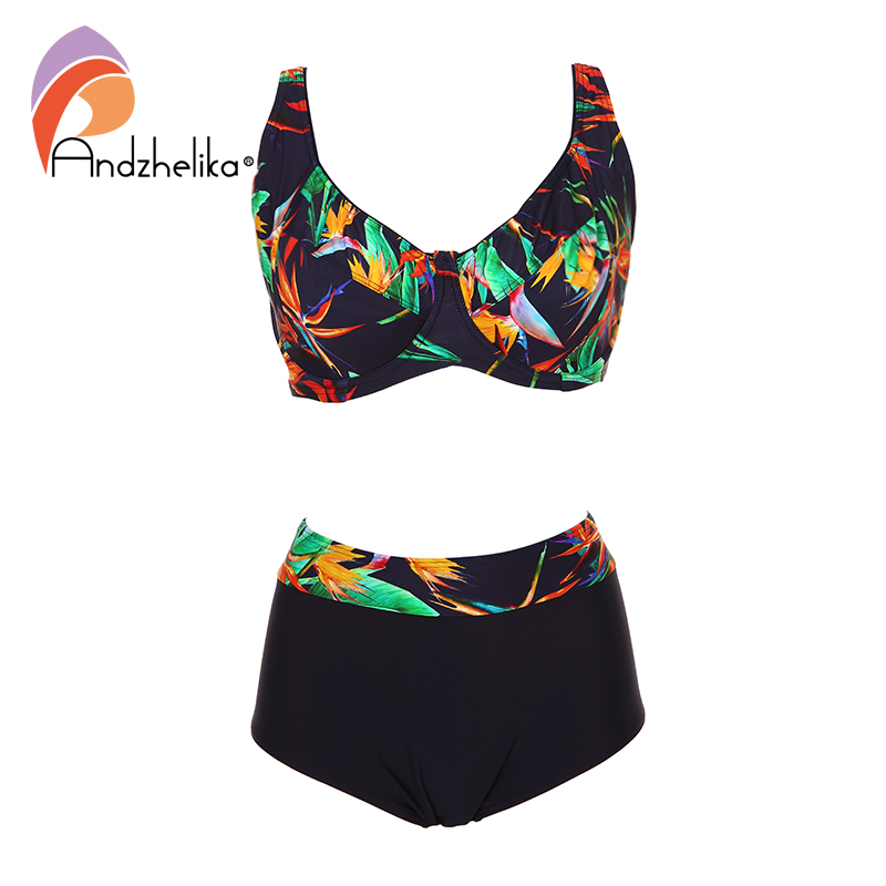 Andzhelika New Plus Size Swimwear Sexy High Waist Bikinis Women Deep Soft Cup Swimsuit Floral Print Wide Halter Bathing Suits