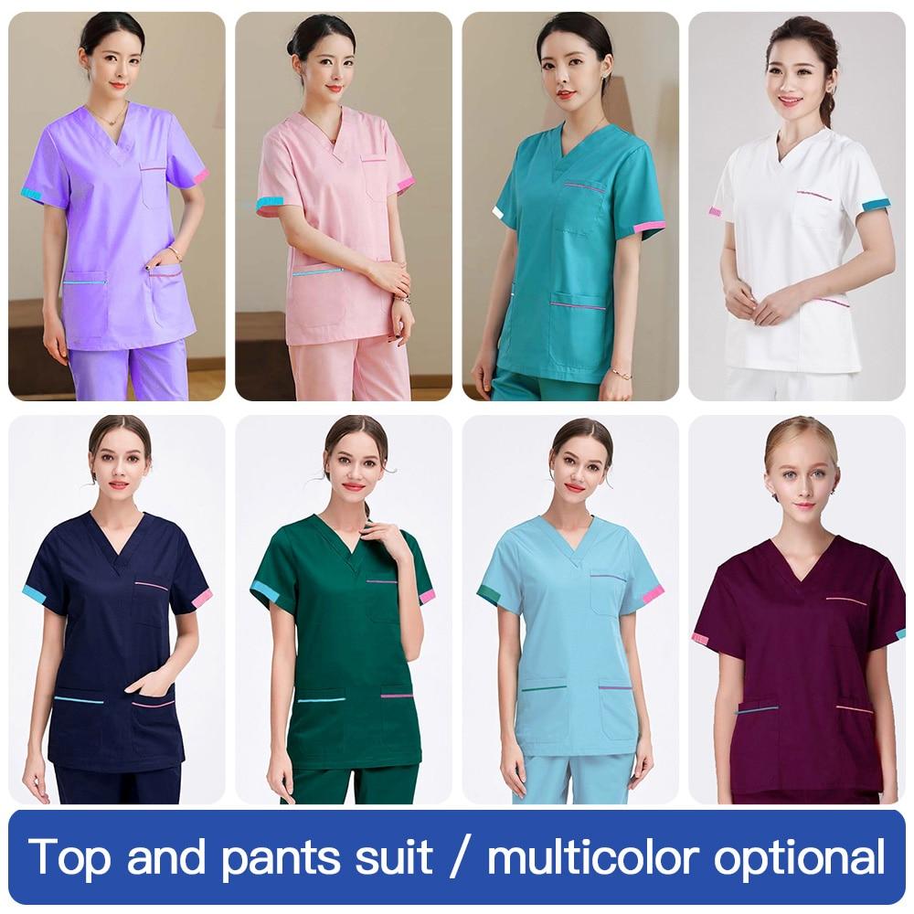 MSORMOSIA Hospital Doctor Surgery Uniforms Summer V-Neck Hospital Beauty Scrubs Medical Uniform Cotton Women Sets Surgical Gowns