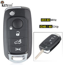KEYECU 433.92MHz Megamos AES / ID48 ou Hitag AES / 4A puce télécommande voiture clé Fob 4 bouton pour Fiat 500X Egea Tipo