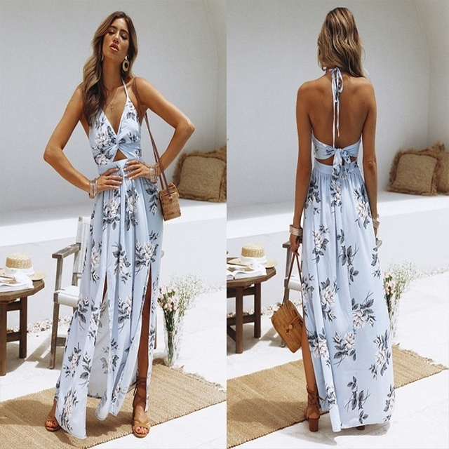 Womens Summer Boho Maxi Long Dress Beach Dresses Sexy V Neck Off Shoulder Floral Halter Dress Backless Bow 5