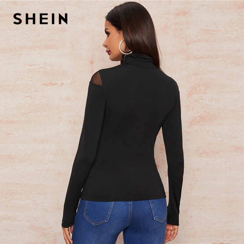 SHEIN Black High Neck Mesh Inert Form Fitted Sexy T-Shirt Women Tops 2020 Spring Long Sleeve Glamorous Sheer Solid Skinny Tees 2