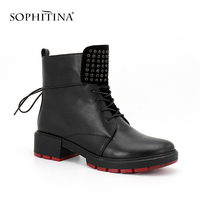 SOPHITINA Handmade Woman Boots Light Square Heels Round Toe Cow Leather Ladies Shoes Fashion Crystal Zipper Quality Boots SC90