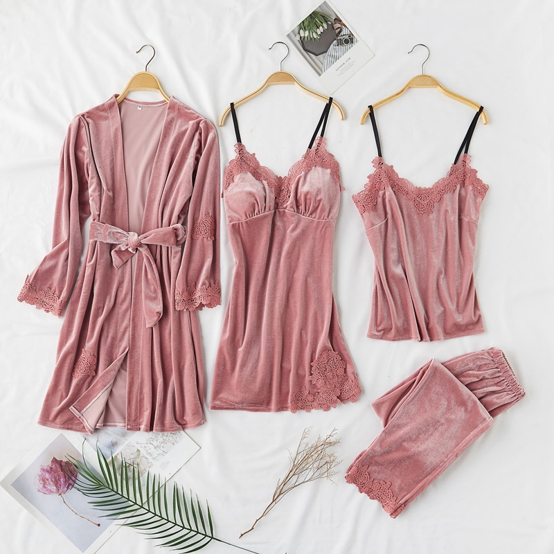 4 Pieces (Robe+Pants+Camisole+Nightgown)Women Robe Pajamas Set Autumn&Winter New Velour Sleepwear Nightwear Badgown Homewear