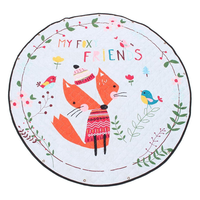 Baby Play Mat,Baby Nursery Rugs Kids Crawling Mat Round Play Mat Portable Toys Storage Fox Pattern Diameter 150cm