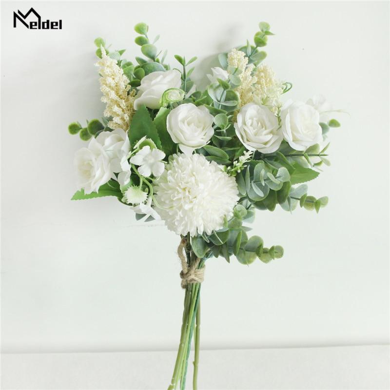 Meldel Wedding Flower Bouquet Artificial Silk Rose Lucky Ball Flower Home Wedding Decor Bride Bouquet Forest Style Eucalyptus