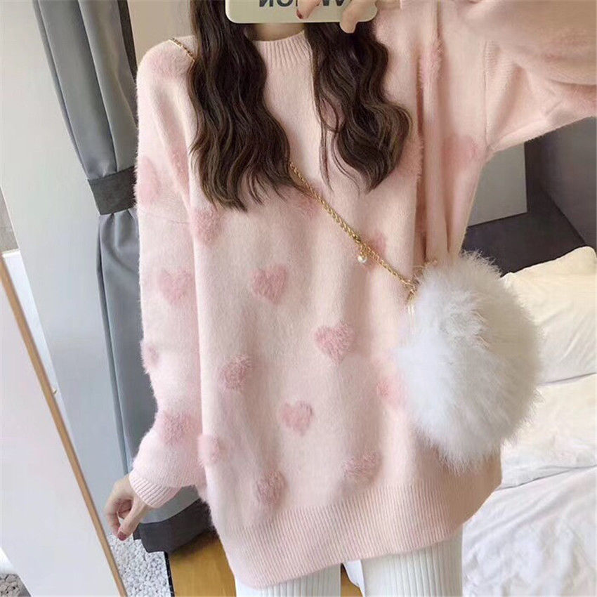 Sweater women's loose jacket fall winter love pullover long sleeve lazy style net red fashion retro knit top 2020 New hot sale 3