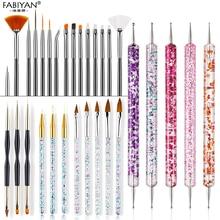 20Pcs Nail Art Brush Ontwerp Tips Schilderij Tekening Carving Puntjes Pen Builder Platte Fan Liner Acryl Gel Uv Polish tool Manicure
