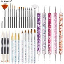 8/20Pcs Nail art Pinsel Design Spitze Malerei Zeichnung Carving Punktierung Pen Builder FlatFan Liner Acryl Gel UV polnischen Werkzeug Maniküre
