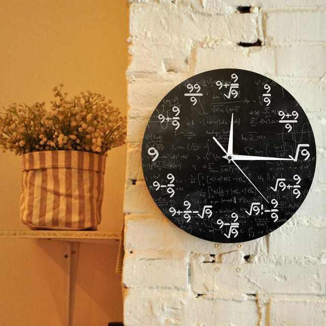 Math Equation The Nines Math Wall Clock The Clock of 9s Formulas Modern Wall Hanging Watch Mathematical Classroom Wall Art Decor