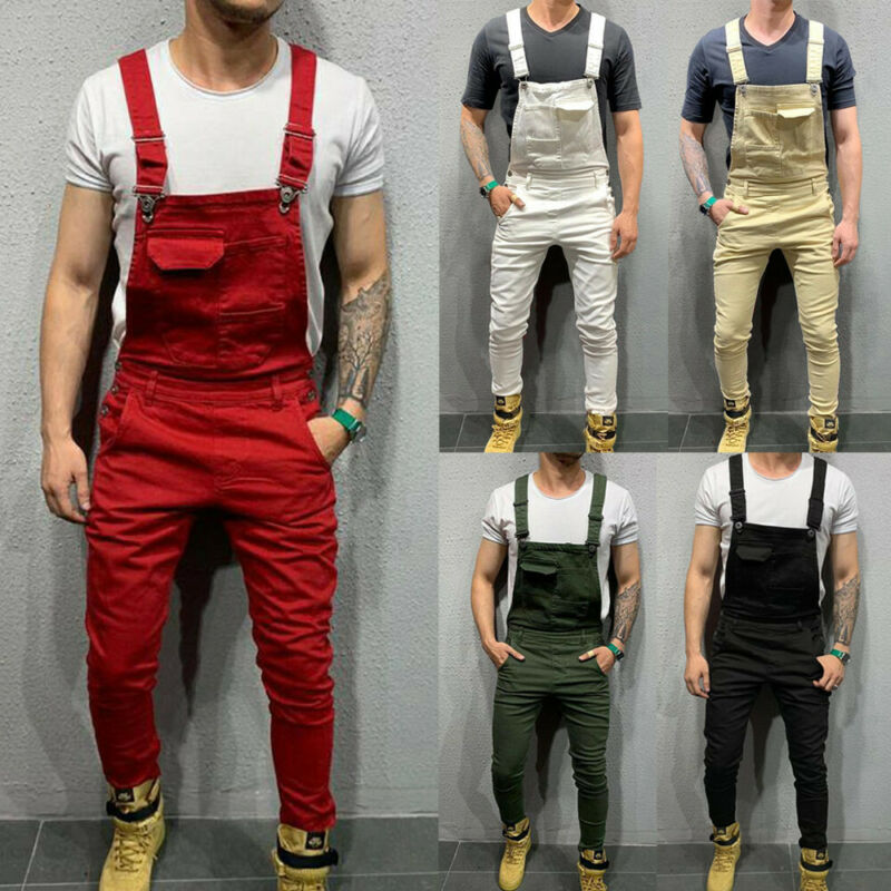 UK Mens Fashion Denim Dungaree Bib Overalls Jumpsuits Moto Biker Jeans Pants Trousers 2019 New