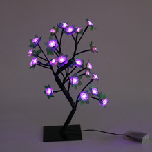 Night Light Bedroom LED Lamp Room Decoration Simulation Rose Tree Light Desk Lamp Christmas Girl Xmas Colorful Creative Gift
