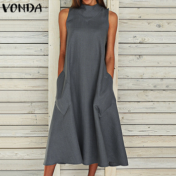 VONDA Bohemian Maxi Long Dress 2020 Women Vintage Sexy Summer Sleeveless Dresses Party Vestido Casual Loose Plus Size Sundress autumn summer new women shirt dress long sleeved female dresses slim fashion party office lady sundress plus size casual rob