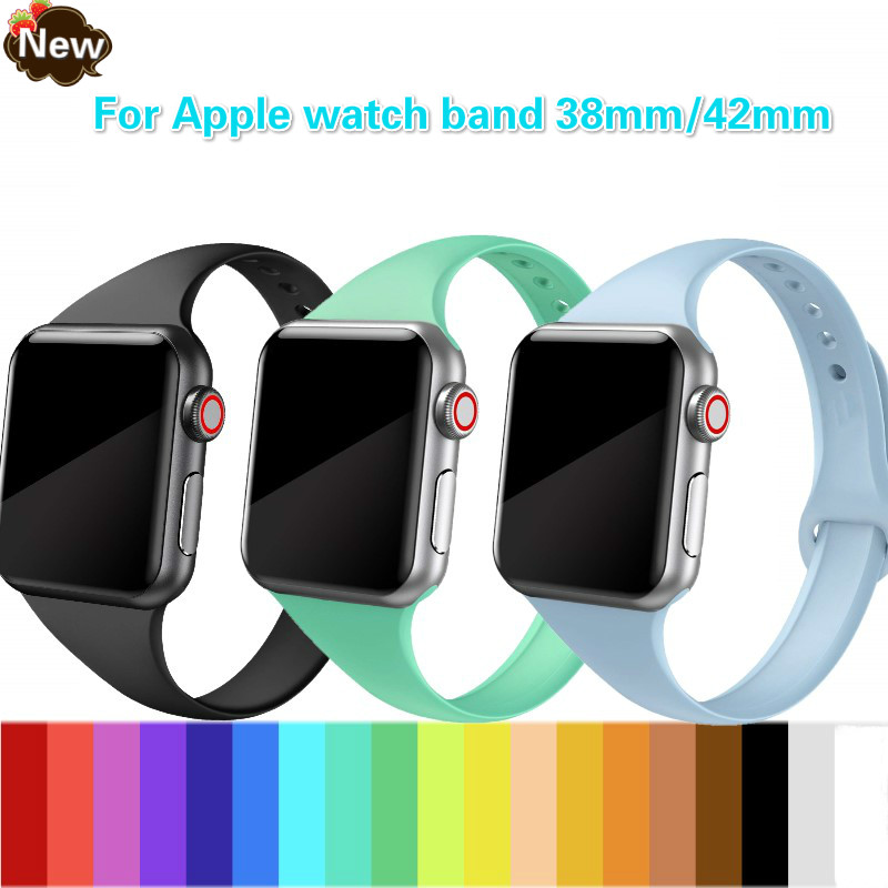 Strap for <font><b>Apple</b></font> <font><b>watch</b></font> band <font><b>apple</b></font> <font><b>watch</b></font> 5 4 3 <font><b>2</b></font> iWatch band <font><b>42mm</b></font> correa 38 mm 44mm 40mm Silm silicone <font><b>pulseira</b></font> bracelet Watchband image