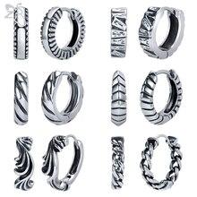 ZS 2pcs/lot 316L Stainless Steel Hoop Earrings For Men Women Kpop HipHop Earring Gothic Punk Rock Circle Vintage Jewelry