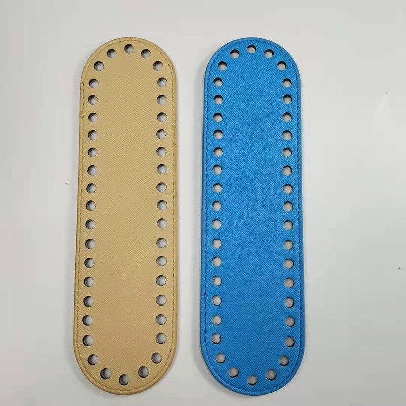 1PC Oval Bag Bottom For Knitting Bag PU Leather Long Bottom For Shoulder Handbag Handmade DIY Replacement Bag Accessories
