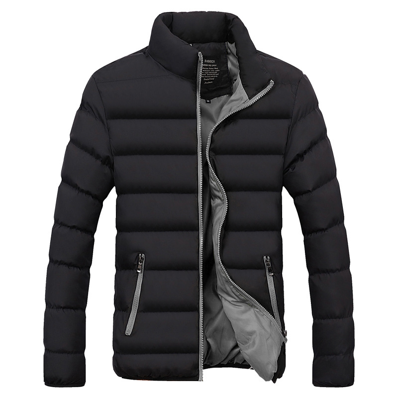 Men Winter Stand Collar Solid Color Thick Down Jacket Cotton-padded Clothes Large Size Casual Trend Versatile Cotton Overcoat